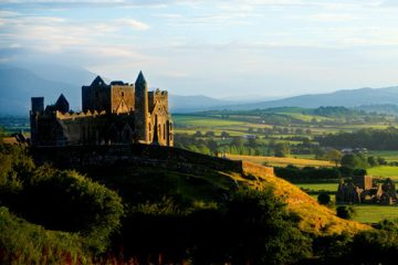 A panoramic image of the Rock of Cashel grounds as part of Fr Roch's Majestic Tour of Ireland with Brack Tours