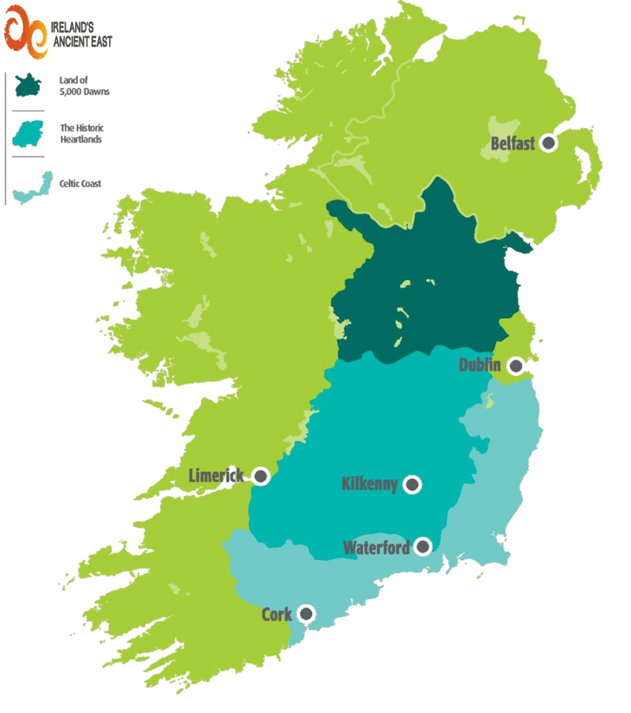 Map Of East Coast Of Ireland.Ireland S Ancient East Vacations Ireland Brack Tours